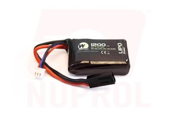 Bilde av Batteri Li-Po 7.4V - 1200mAh 30C - PEQ15 Micro Type